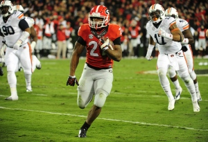 ATHENS, GA - NOVEMBER 15: Nick Chubb #27 of the Georgia Bulldogs carries the ball against the Auburn Tigers at Sanford Stadium on November 15, 2014 in Athens, Georgia. (Photo by Scott Cunningham/Getty Images)