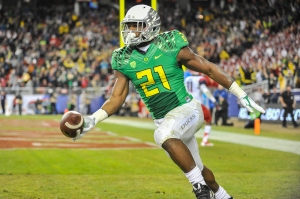 Royce Freeman will be one of many explosive UO players returning in 2015. (Photo by oregonlive)