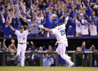 Kendrys Morales will keep celebrating all the way to the World Series.