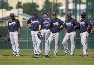 Atlanta Braves pitchers listen to coach pitching coach Roger McDowell (45) during spring training workouts. Photo Credit of USA TODAY Sports