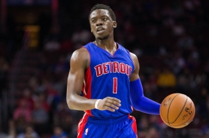 Detroit Pistons guard Reggie Jackson (1) brings the ball up court against the Philadelphia 76ers during the second quarter at Wells Fargo Center. Photo Courtesy of USA Today.
